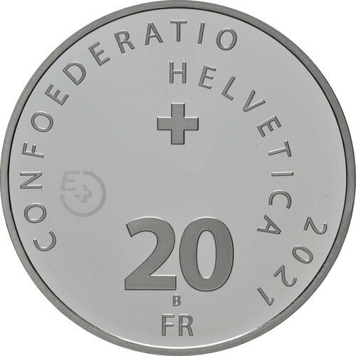 Rückseite:Schweiz : 20 sfr Illusion - Viadukt des Lebens - Probe  2021 Stgl.
