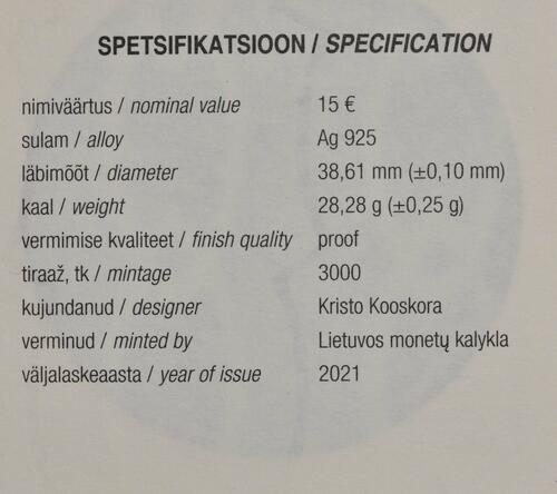 Zertifikat:Estland : 15 Euro 150. Geburtstag Friedrich Karl Akel (Diplomat)  2021 PP