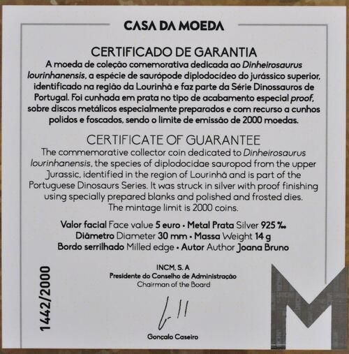 Zertifikat:Portugal : 5 Euro Dinheirosaurus Lourinha - leuchtet im Dunkeln  2021 PP