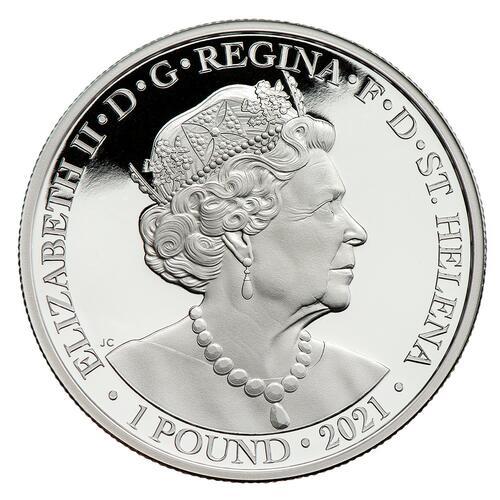Vorderseite:Saint Helena : 1 Pfund Napoleons Engel Silber mit selektiver Goldauflage  2021 PP
