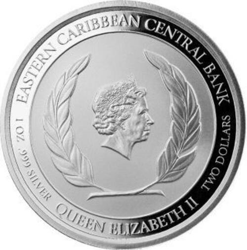 Rückseite:Grenada : 2 Dollar Grenada - Coat of Arms (Wappen) 1 oz - in Box  2021 PP