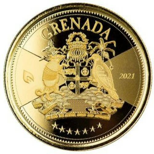 Vorderseite:Grenada : 10 Dollar Grenada - Coat of Arms (Wappen) 1 oz Go St  2021 Stgl.
