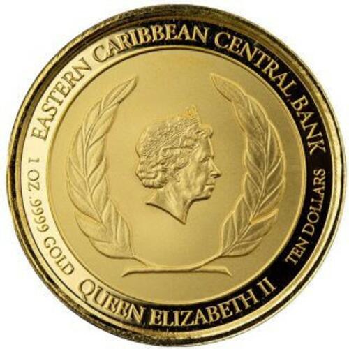 Rückseite:Grenada : 10 Dollar Grenada - Coat of Arms (Wappen) Go - im Etui  2021 PP