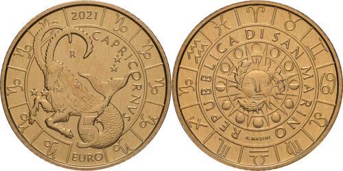 Lieferumfang:San Marino : 5 Euro Steinbock  2021 Stgl.