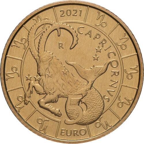 Vorderseite:San Marino : 5 Euro Steinbock  2021 Stgl.