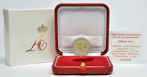 Lieferumfang:Monaco : 2 Euro 10. Hochzeitstag von Fürst Albert II und Fürstin Charlène  2021 PP