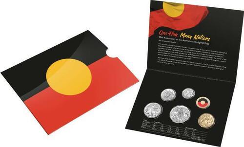 Lieferumfang:Australien : 3,85 Dollar Kursmünzensatz ´Aboriginal Flag´  2021 Stgl.