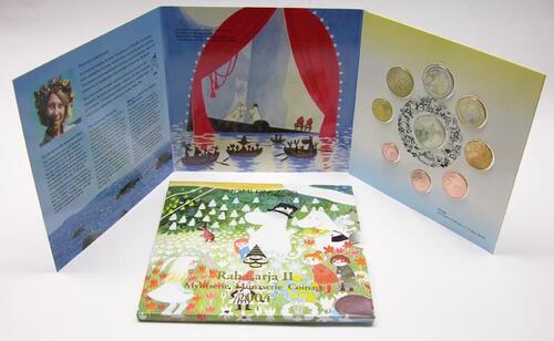 """Lieferumfang:Finnland : 3,88 Euro original Kursmünzensatz der finnischen Münze II. """"Moomin"""" mit 2 Euro Gedenkmünze !  2004 Stgl."""