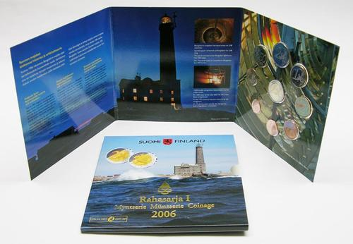 Lieferumfang:Finnland : 5,88 Euro original Kursmünzensatz der finnischen Münze - enthält auch die 2 Euro Gedenkmünze aus 2005  2006 Stgl. Leuchtturm Bengtskär; KMS Finnland 2006