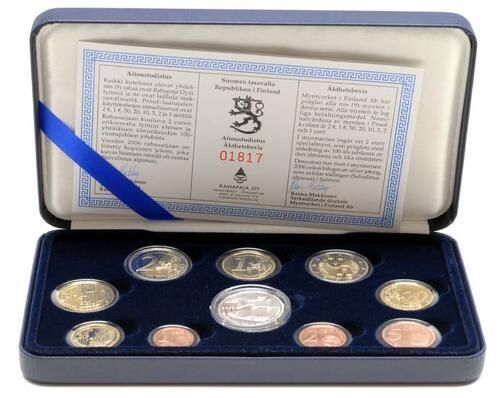 Lieferumfang:Finnland : 5,88 Euro original Kursmünzensatz der finnischen Münze (mit Silbertoken) in Originaletui mit Zertifikat  2006 PP