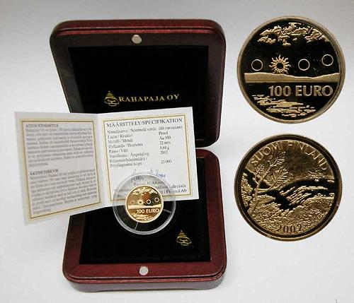Lieferumfang:Finnland : 100 Euro Mitternachtssonne, inklusive orginaler Holzkassette und Zertifikat, Auflage 25000 Stück !  2002 PP