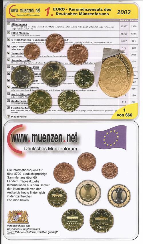 Lieferumfang:Deutschland : 3,88 Euro original KMS des Deutschen Münzenforums verpackt durch das Bayerische Hauptmünzamt - einzeln numeriert  2002 Stgl. KMS Münzenforum 2002