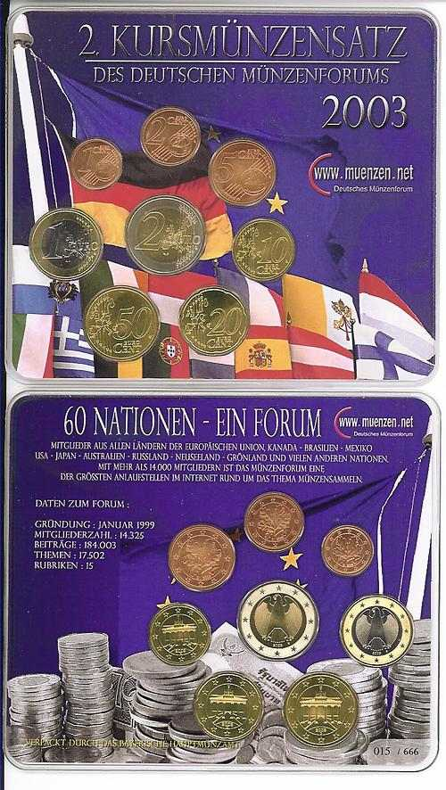 Lieferumfang:Deutschland : 3,88 Euro original KMS des Deutschen Münzenforums verpackt durch das Bayerische Hauptmünzamt - einzeln numeriert  2003 Stgl. KMS Münzenforum 2003