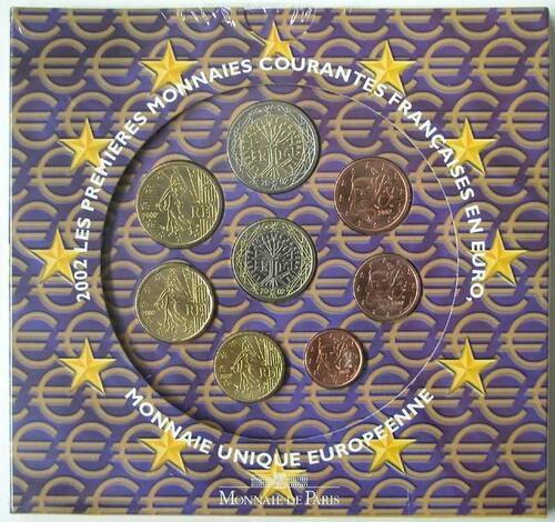 Lieferumfang:Frankreich : 3,88 Euro original Kursmünzensatz der französischen Münze  2002 Stgl. KMS Frankreich 2002