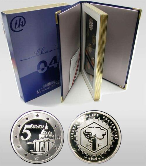 Lieferumfang:Frankreich : 8,88 Euro original Kursmünzensatz der französischen Münze mit 5 Euro Gedenkmünze  2004 PP KMS Frankreich 2004 PP