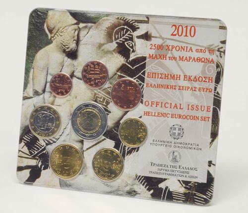 Lieferumfang:Griechenland : 3,88 Euro original Kursmünzensatz der griechischen Münze mit 2 Euro Marathon  2010 Stgl.