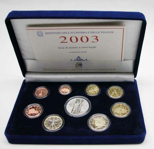 Lieferumfang:Italien : 8,88 Euro original Kursmünzensatz aus Italien mit zusätzlicher 5 Euro Gedenkmünze inkl. Originalkassette und Zertifikat  2003 PP KMS Italien 2003 PP