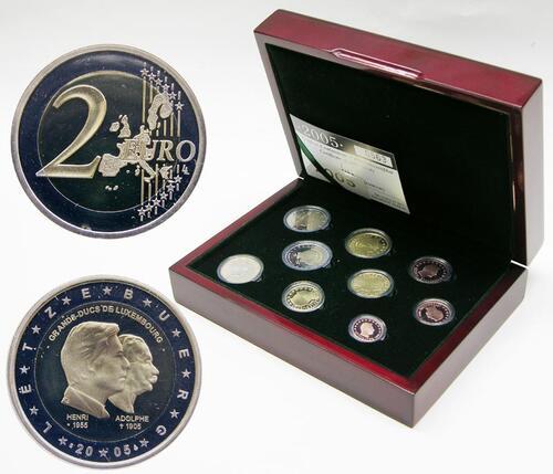 Lieferumfang:Luxemburg : 5,88 Euro original Kursmünzensatz aus Luxemburg in Originalkassette, mit 2 Euro Gedenkmünze  2005 PP KMS Luxemburg 2005 PP;Luxemburg 2005 PP
