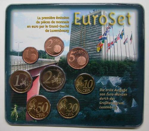 Lieferumfang:Luxemburg : 3,88 Euro original Kursmünzensatz aus Luxemburg 2. Ausgabe  2002 bfr KMS Luxemburg 2002