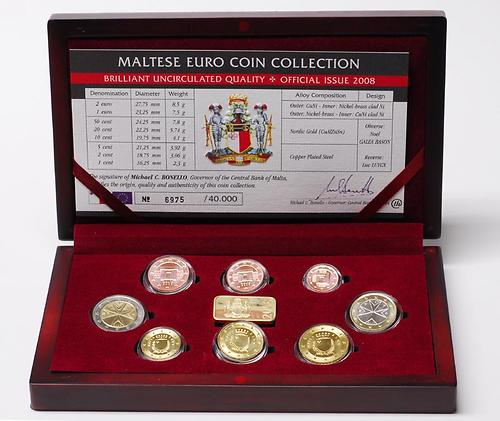 Lieferumfang:Malta : 3,88 Euro original Kursmünzensatz aus Malta in Holzkassette  2008 Stgl. KMS Malta 2008