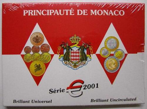 Lieferumfang:Monaco : 3,88 Euro original Kursmünzensatz aus Monaco  2001 Stgl. KMS Monaco 2001