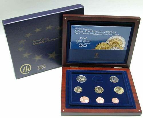 Lieferumfang:Portugal : 3,88 Euro original Kursmünzensatz aus Portugal (in Holzkassette)  2002 PP KMS Portugal 2002 PP