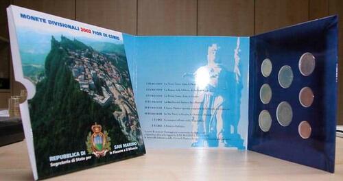 Lieferumfang:San Marino : 3,88 Euro original Kursmünzensatz  aus San Marino  2002 bfr KMS San Marino 2002