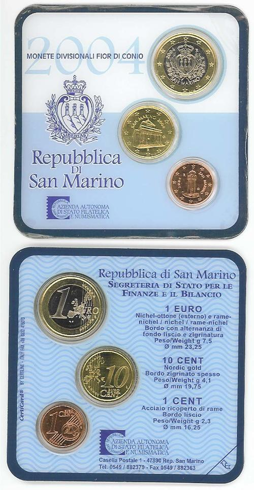 Lieferumfang:San Marino : 1,11 Euro Minikit - Set aus 1 Euro + 10 Cent + 1 Cent  2004 Stgl. KMS San Marino 2004 Mini Kit
