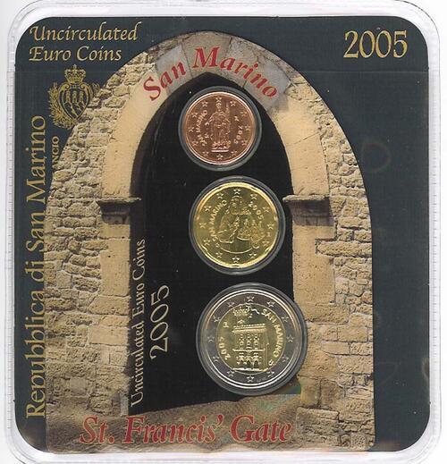 Lieferumfang:San Marino : 2,22 Euro Minikit - Set aus 2 Euro + 20 Cent + 2 Cent  2005 bfr KMS San Marino 2005 Mini Kit