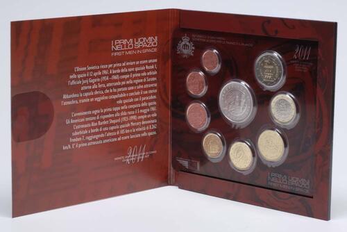 Lieferumfang:San Marino : 8,88 Euro original Kursmünzensatz aus San Marino erste Menschen im Weltall  2011 Stgl.