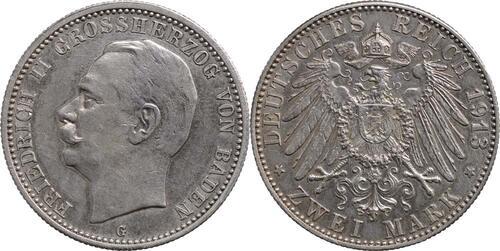 Lieferumfang:Deutschland : 2 Mark Friedrich II.  1913 vz.