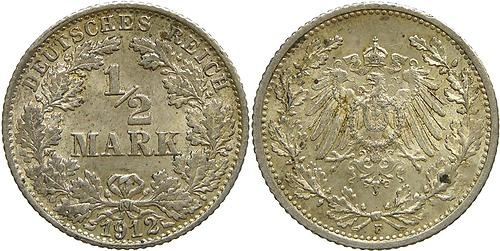 Lieferumfang:Deutschland : 1/2 Mark   1912 ss/vz.