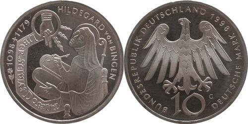 Lieferumfang:Deutschland : 10 DM Hildegard v. Bingen  1998 vz/Stgl.