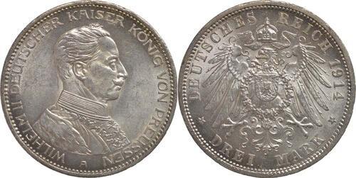 Lieferumfang:Deutschland : 3 Mark Wilhelm II.  1914 vz/Stgl.