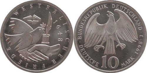 Lieferumfang:Deutschland : 10 DM 350. Jahrestag d. Westfälischen Friedens  1998 vz/Stgl.