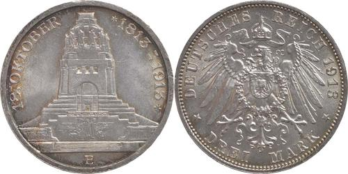 Lieferumfang:Deutschland : 3 Mark 100 Jahre Völkerschlacht bei Leipzig  1913 vz/Stgl.