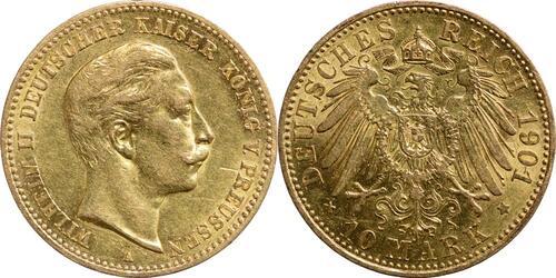 Lieferumfang:Deutschland : 10 Mark Wilhelm II.  1901 ss/vz.