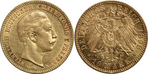 Lieferumfang:Deutschland : 10 Mark Wilhelm II.  1898 vz.