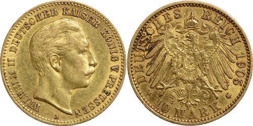 Lieferumfang:Deutschland : 10 Mark Wilhelm II.  1905 ss.