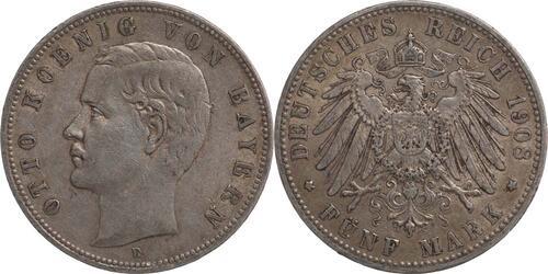 Lieferumfang:Deutschland : 5 Mark Otto  1908 ss.