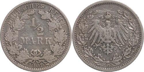 Lieferumfang:Deutschland : 1/2 Mark   1909 ss.