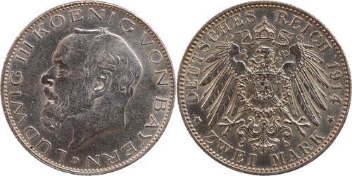 Lieferumfang:Deutschland : 2 Mark Ludwig III.  1914 vz.