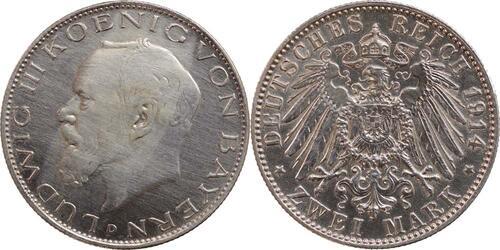 Lieferumfang:Deutschland : 2 Mark Ludwig III.  1914 ss/vz.