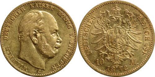 Lieferumfang:Deutschland : 10 Mark Wilhelm I.  1872 ss/vz.