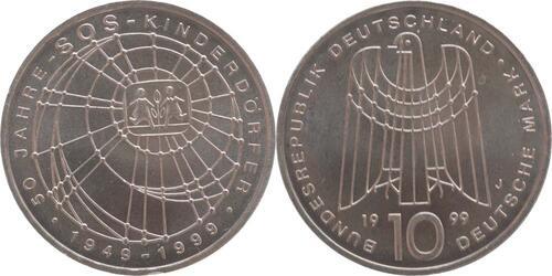 Lieferumfang:Deutschland : 10 DM SOS Kinderdörfer  1999 vz/Stgl.