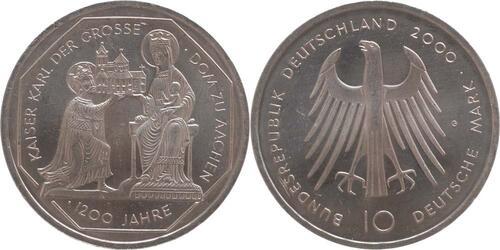 Lieferumfang:Deutschland : 10 DM Karl d. Große / Dom zu Aachen  2000 vz/Stgl.