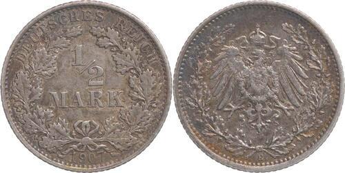 Lieferumfang:Deutschland : 1/2 Mark   1907 ss.