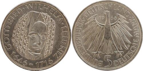 Lieferumfang:Deutschland : 5 DM Leibniz  1966 vz/Stgl.