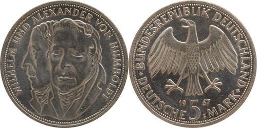 Lieferumfang:Deutschland : 5 DM Humboldt  1967 vz/Stgl.