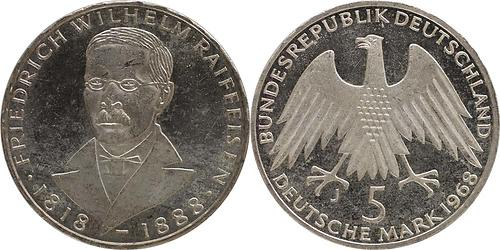 Lieferumfang:Deutschland : 5 DM Raiffeisen  1968 vz/Stgl.